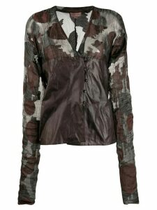 Romeo Gigli Pre-Owned 1990s floral sheer panels blouse - Brown