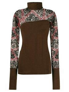 Romeo Gigli Pre-Owned 1990s embroidered sheer panels blouse - Brown