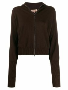 Romeo Gigli Pre-Owned 1990s puffy long sleeves zipped top - Brown