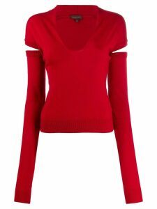 Romeo Gigli Pre-Owned 1990s knitted V-neck detachable sleeves - Red