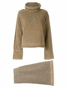 Fendi Pre-Owned knitted herringbone jumper skirt set - Brown