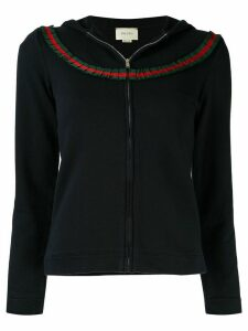 Gucci Pre-Owned Web stripe trim hoodie - Blue