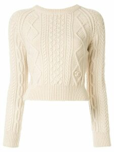 Chanel Pre-Owned 1996 cable-knit jumper - NEUTRALS