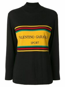 Valentino Pre-Owned logo stripe sweatshirt - Black