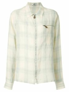 Hermès Pre-Owned checked long-sleeve shirt - Neutrals