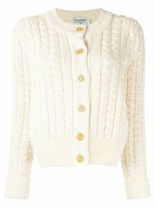 Chanel Pre-Owned CC cable knit cardigan - White