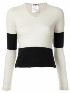 Chanel Pre-Owned panelled V-neck jumper - NEUTRALS