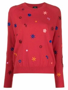 PS Paul Smith floral embroidered round neck sweater