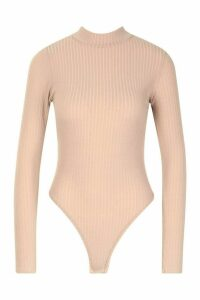 Womens roll/polo neck Rib Long Sleeve Thong Bodysuit - beige - 12, Beige