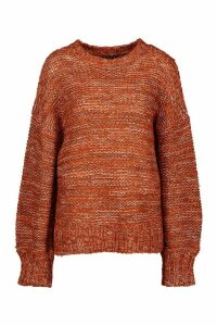 Womens Balloon Sleeve Marl Mix Jumper - orange - M, Orange