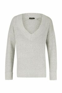 Womens Fluffy Turn Up Cuff Round Neck Jumper - grey - M, Grey