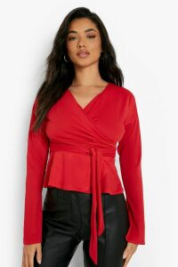 Womens Crepe Split Sleeve Ruffle Shoulder Top - red - 14, Red