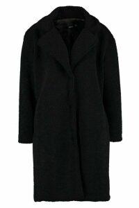 Womens Teddy Faux Fur Coat - black - 10, Black