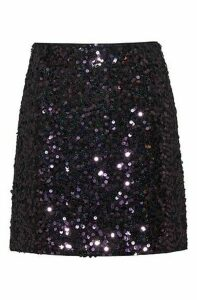 Slim-fit sequinned mini skirt with concealed zip