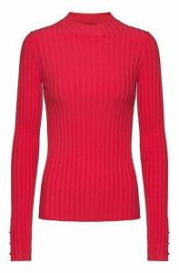 High-neck sweater in ribbed super-stretch fabric