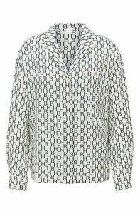 Pyjama-style blouse in logo-print silk