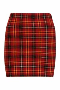 Womens Tartan Check Jersey Mini Skirt - red - 16, Red