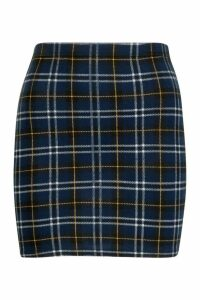 Womens Tartan Check Jersey Mini Skirt - navy - 10, Navy