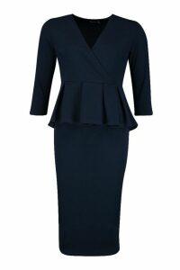 Womens Peplum 3/4 Sleeve Midi Dress - navy - 14, Navy