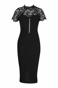 Womens High Neck Lace Trim Midi Dress - black - 14, Black