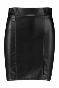 Womens Leather Look Seam Front Mini Skirt - black - 16, Black