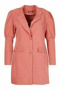 Womens Plus Puff Sleeve Blazer Dress - pink - 24, Pink