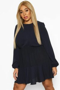 Womens Plus Long Sleeved Tiered Woven Smock Dress - navy - 20, Navy