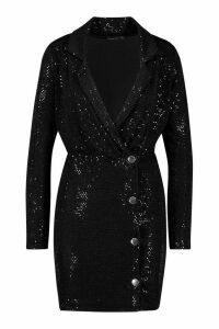 Womens Sequin Blazer Dress - black - 8, Black