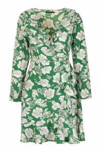 Womens Floral Print Ruffle 3/4 Sleeve Tea Dress - Green - 10, Green