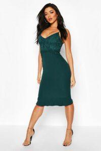 Womens Lace Panel Ruffle Hem Midi Dress - Green - 16, Green