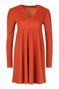 Womens Puff Sleeve Smock Dress - orange - 10, Orange