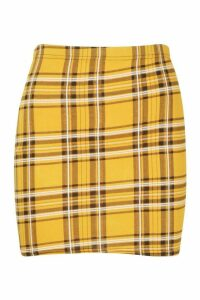Womens Tartan Check Basic Jersey Mini Skirt - Yellow - 18, Yellow
