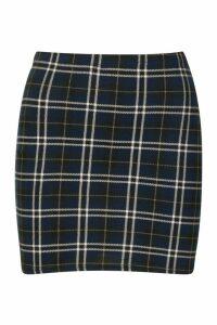 Womens Tartan Check Basic Jersey Mini Skirt - Navy - 16, Navy