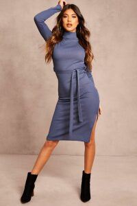 Womens Recycled Roll Neck Belted Rib Midi Dress - Blue - 26, Blue