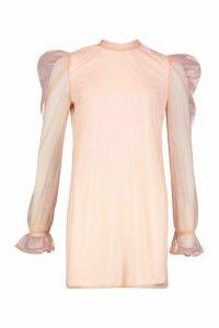 Womens Organza Sleeve High Neck Shift Dress - Pink - 14, Pink