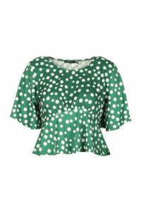 Womens Angel Sleeve Peplum Top - green - 14, Green