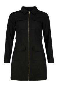 Womens Zip Detail Pocket Tie Waist Mini Dress - black - 10, Black