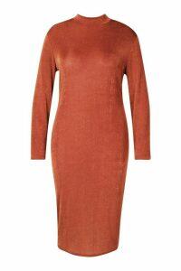 Womens Plus Textured Slinky High Neck Midi Dress - brown - 28, Brown
