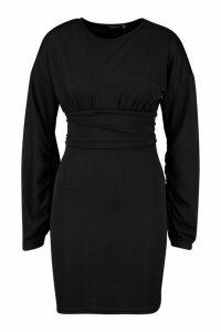 Womens Puff Sleeve Waisted Mini Dress - black - 14, Black