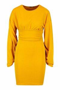 Womens Puff Sleeve Waisted Mini Dress - yellow - 14, Yellow