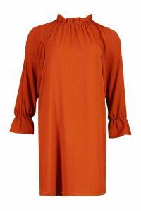 Womens Woven Rouche High Neck Shift Dress - orange - 12, Orange