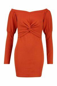 Womens Off The Shoulder Twist Detail Mini Dress - orange - 12, Orange