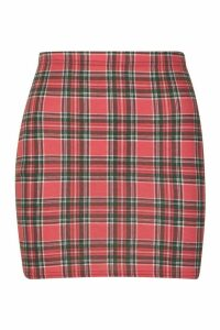 Womens Tartan Check Basic Jersey Mini Skirt - Red - 18, Red