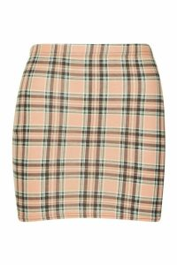 Womens Tartan Check Basic Jersey Mini Skirt - beige - 8, Beige