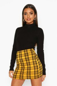 Womens Checked Jersey Mini Skirt - Yellow - 14, Yellow