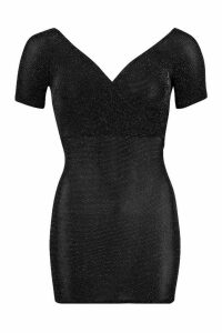 Womens Petite Glitter Off The Shoulder Wrap Bodycon Dress - black - 6, Black