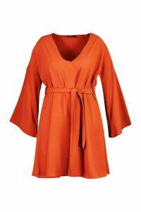 Womens Plus Tie Waist V Neck Swing Dress - orange - 20, Orange