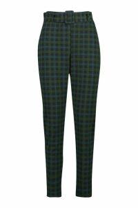 Womens Tartan Check Stretch Skinny Trousers - green - 16, Green