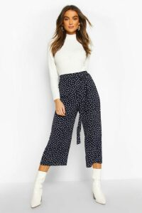 Womens Belted Woven Polka Dot Culottes - navy - 16, Navy