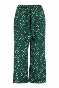 Womens Belted Woven Polka Dot Culottes - Green - 16, Green